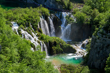 Aerial View Of A High Waterfall In The Plitvice Lakes National Park In Croatia