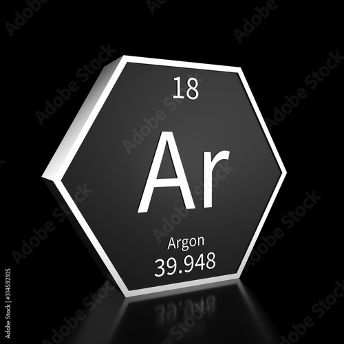 Periodic Table Element Argon Rendered Metal on Black on Black Wallpaper Mural