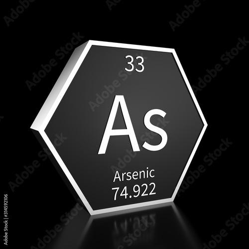 Periodic Table Element Arsenic Rendered Metal on Black on Black Wallpaper Mural