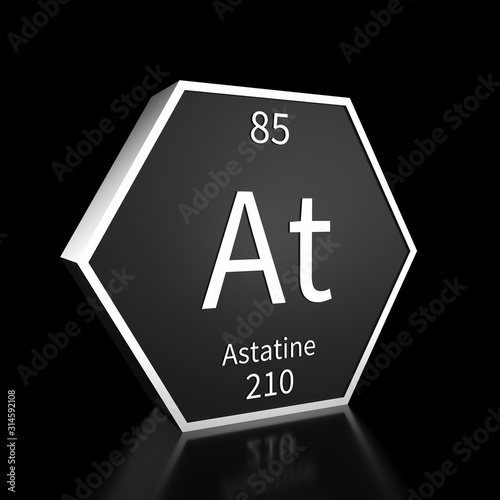 Periodic Table Element Astatine Rendered Metal on Black on Black Wallpaper Mural