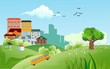 Countryside outdoor illustration, city buildings on the green hills and nature, vector