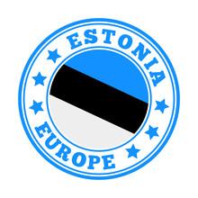 Estonia Sign. Round Country Logo With Flag Of Estonia. Vector Illustration.