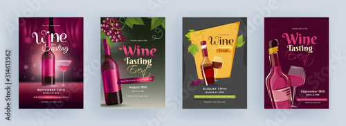 Fotografia Wine Tasting Event Template or Flyer Design with Drink Bottle and Cocktail Glass in Four Color Option