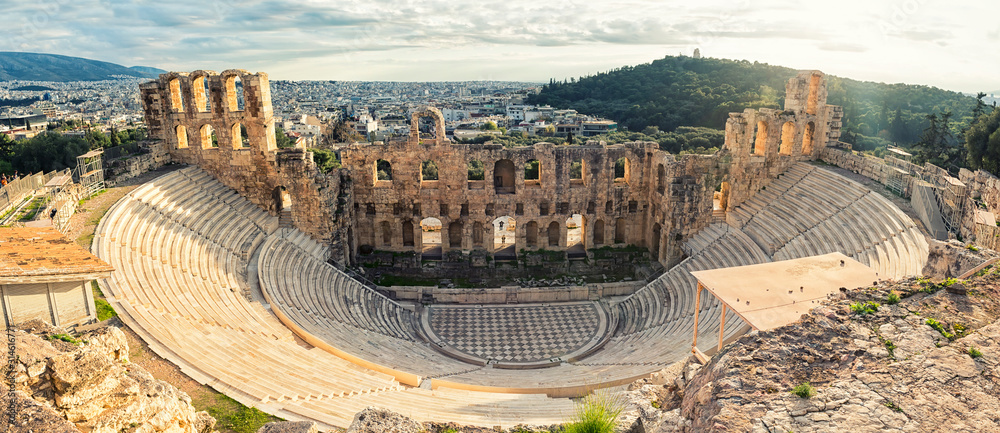 Fototapeta Antique open air theatre in Acropolis, Greece.