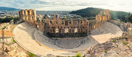 Antique open air theatre in Acropolis, Greece. Canvas Print
