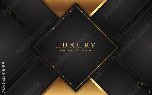 Fototapeta modern luxury background vector overlap layer on dark and shadow black space with abstract style for design. graphic illustration Texture with line golden Sparkles glitters dots element decoration. obraz