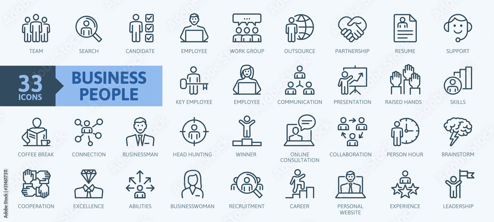 Fototapeta Business people, human resources, office management - thin line web icon set. Outline icons collection. Simple vector illustration.