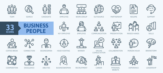 FototapetaBusiness people, human resources, office management - thin line web icon set. Outline icons collection. Simple vector illustration.