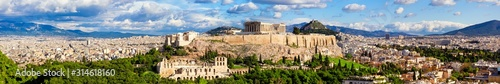 Panorama of Athens with Acropolis hill. Wallpaper Mural