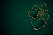 Beautiful Golden Hearts With Floral Background Design