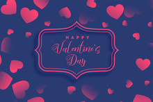 Hearts Pattern On Purple Valentines Day Background