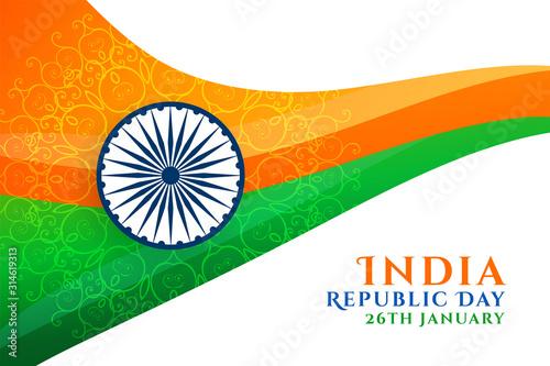 Fotografía abstract indian republic day wavy flag design