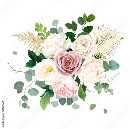 Dusty pink blush, white and creamy rose flowers vector design wedding bouquet