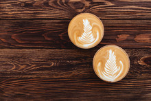 Two Cups Of Coffee On Vintage Wood. Top View , Cup On Wooden Table. View From Top