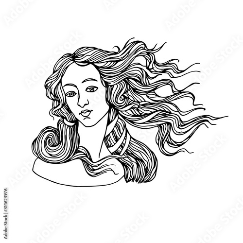 Canvas Print the head of goddess of love, from a painting by Botticelli, the birth of Venus,