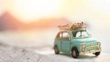 Miniature  Tin Car  Closeup In Summer Scene