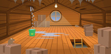 Interior Flooded The Wooden Attic With Boxes, A Window, Stairs And Rats. Broken Roof With Leakage. Vector Illustration Of Cartoon Style.