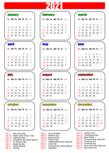 2021 Calendar With Ink Image. ...