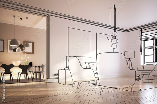 Contemporary Furnishing & Lighting (concept) - 3d Visualization Wallpaper Mural