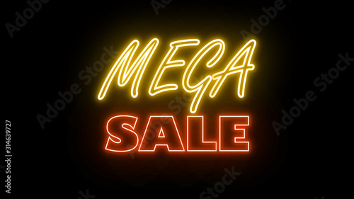 Neon text word letter on the black color brick wall for promotion sale and for clearance sale and for promote sale season.