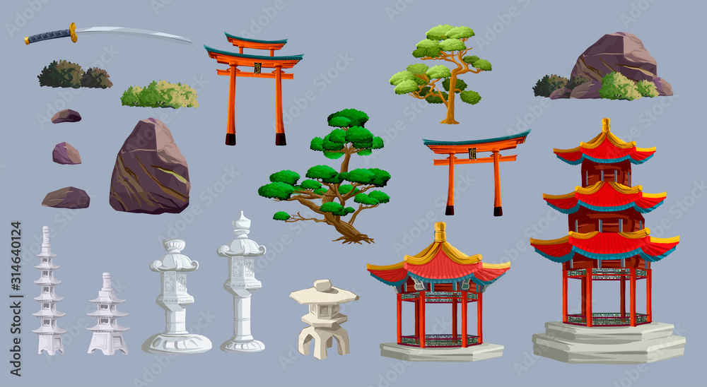 Fototapeta Ancient japan culture objects set with gate, pagoda, temple, ikebana, trees, stone, garden, japanese lantern isolated vector illustration. Japan vector set collection