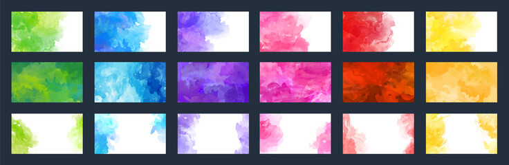 Big bundle set of bright vector colorful watercolor background for poster, brochure, card or flyer