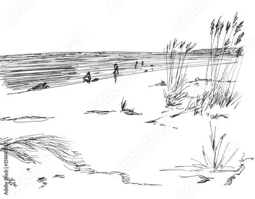Fototapeta black and white graphic drawing of sand dunes on the seashore obraz