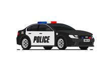 Black Police Car Icon. City Pa...