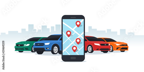 Fotografia, Obraz Car sharing and rent service