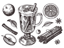 Set Of Mulled Wine, Fruit And Spices, Hand Drawn Illustrations