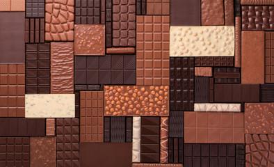 Panel Szklany Do kawiarni dark and milk chocolates with nuts, assorted sweet bar.