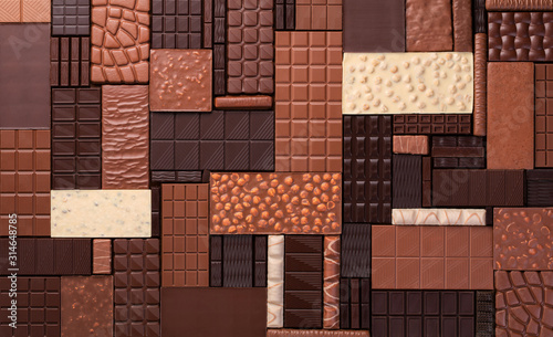 Fotomural dark and milk chocolates with nuts, assorted sweet bar.