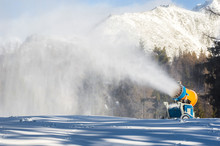 Snow Cannons In The Ski Resort.