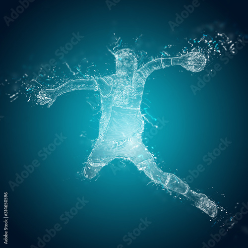 Obraz na plátne Abstract handball player in action