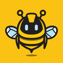 Bee Cute Droid Robot Technology Character Mascot Logo Vector Illustration