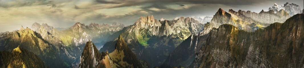 Great panorama of Switzerland mountains in autumn