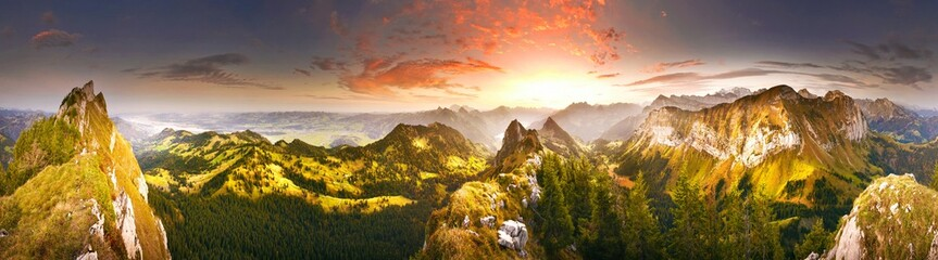 Panorama of morning mountains in Switzerland with Lake Zürich and many tops in autumn