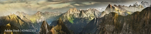Great panorama of Switzerland mountains in autumn - 314652302