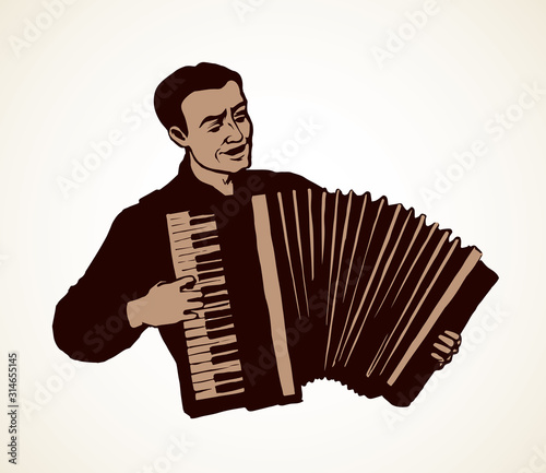 Vászonkép  A man plays the accordion. Vector drawing