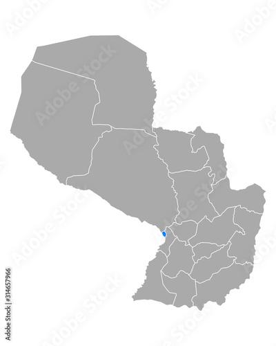 Fotografie, Obraz Karte von Asuncion in Paraguay