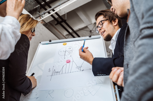 Photo Businesspeople with whiteboard discussing strategy in a meeting