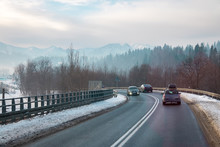 Cars On The Road In The Mounta...
