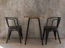 Black Metal Chairs And Wooden ...