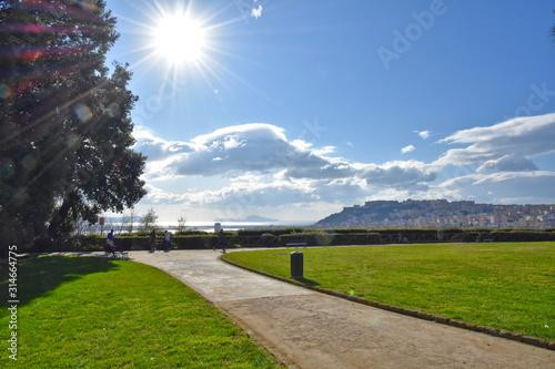 Valokuvatapetti View of the Capodimonte public park in Naples, Italy