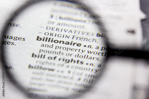 Word or phrase Billionaire in a dictionary. Wallpaper Mural