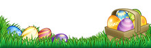Easter Background With Basket Or Hamper Full Of Easter Eggs In A Field Of Grass.