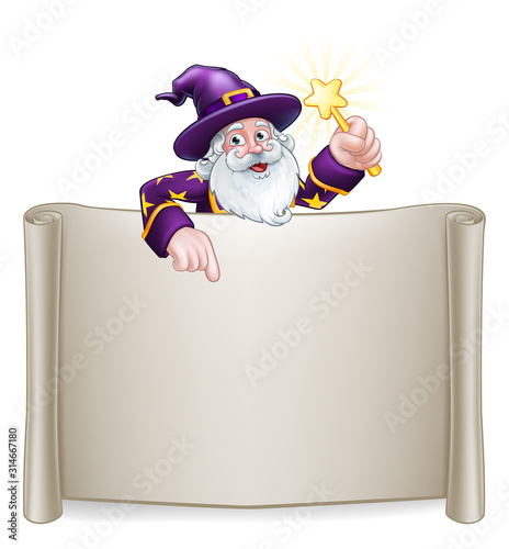 Photo A wizard cartoon character peeking over a scroll sign and pointing at it