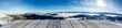 canvas print picture - wooden display shelf table top against blurred snow covered mountain panorama
