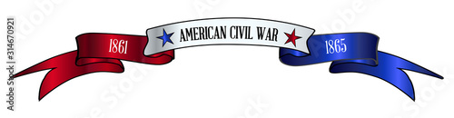 USA Red White And Blue Civil War Ribbon Banner Fototapeta