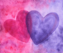 Two Hearts On Purple-red Backg...